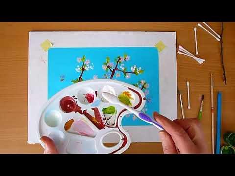1 клас. Мистецтво. Весна прийшла. Малюємо квітучу гілочку гуашевими фарбами