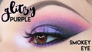 TUTORIAL || Glittery Purple Smokey Eye