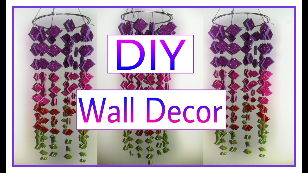 Diy crafts how to make beautiful wall hanging diy for Decoration items made at home