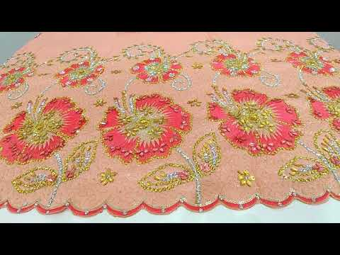 Handmade Wrapper Design 6551 Peach with matching blouse