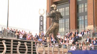 Peyton Manning bronze statue unveiled in front of Lucas Oil Stadium