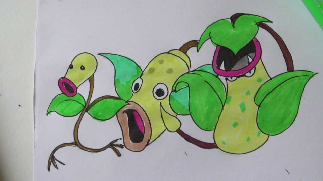 How to draw Pokemon: No.69 Bellsprout, No.70 Weepinbell ...