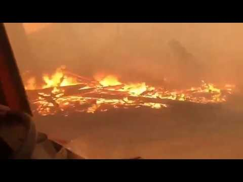 На КАМАЗ сквозь лесной пожар