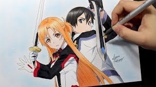 Speed Drawing - Asuna and Kirito [Sword Art Online: Ordinal Scale]