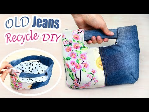 DIY PURSE BAG FROM OLD JEANS // Jeans Recycle Creative Idea 2018