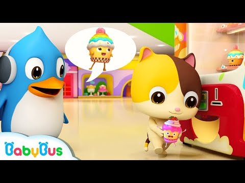 Yummy Cupcakes in Vending Machine | Baby Kitten's Supermarket Shopping | Ice Cream | BabyBus Cartoon