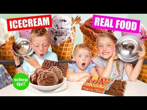 SCHEP IJS ICECREAM vs REAL FOOD CHALLENGE!! ♥DeZoeteZusjes♥