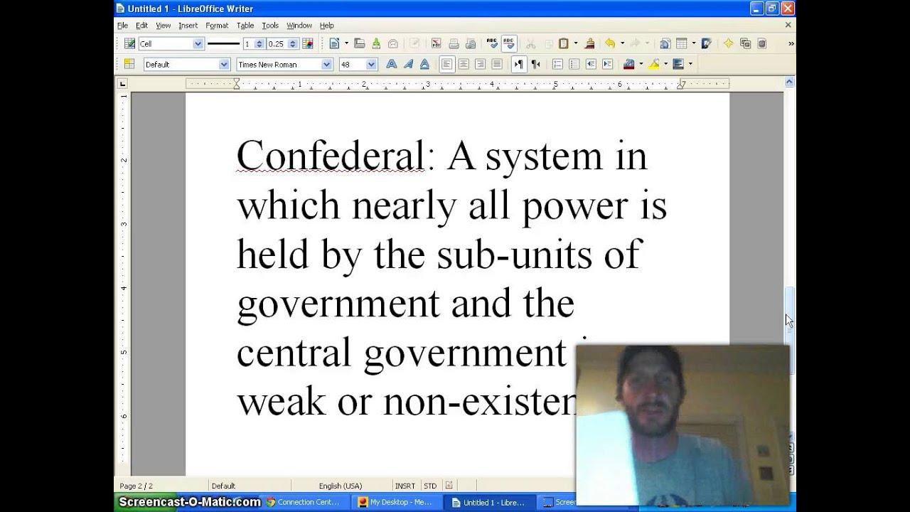 Unitary Federal Confederal