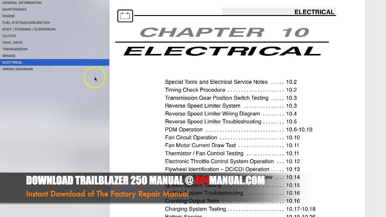 hight resolution of polaris trailblazer 250 repair manual 2004 2005 2006 trail blazer