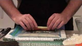 How To Make A Sushi Roll (cream Cheese And Crab)