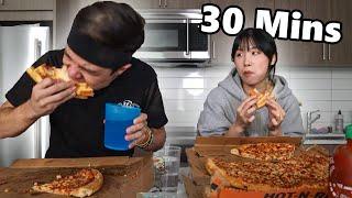 Couple's Food Challenge!! (Matt Stonie & Mei vs Little Ceasar's Large Pizza)