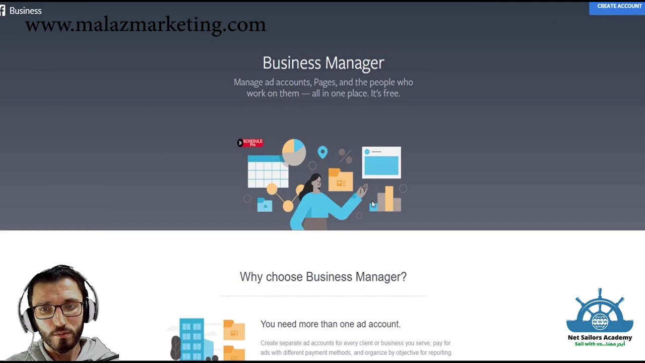 إنشاء مدير اعمال فيسبوك Facebookbusinessmanager Facebook Business Manager Youtube