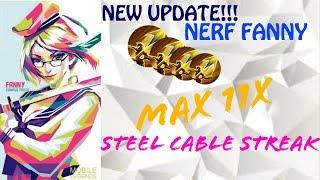 Mobile Legends : Fanny after nerf maximal steel cable streak, bonus base to buff monster