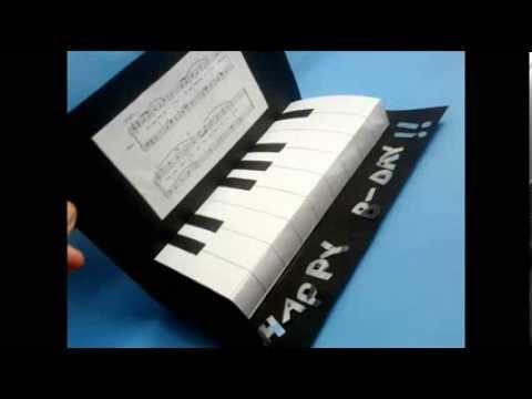 Diy pop up piano card manualidades tarjeta piano - Papel partitura para manualidades ...