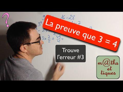 La preuve que 3 = 4 - Trouve l'erreur#3
