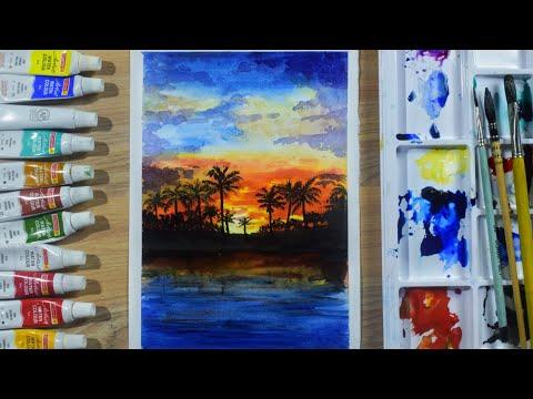 Watercolor painting of sunset evening landscape    JDV Arts