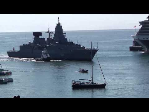 German Navy Frigate F220 Hamburg enters Funchal Harbour
