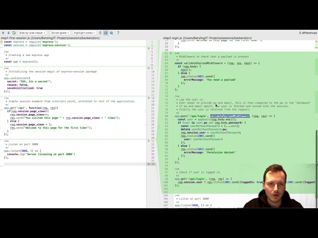 Sessions with Express (Node js) and Angular