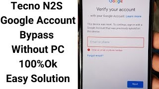 Tecno Pop 1S Google Account Unlock