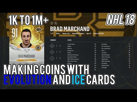 NHL 18 HUT 1k to 1m+ | Making coins with EVO cards and Ice cards