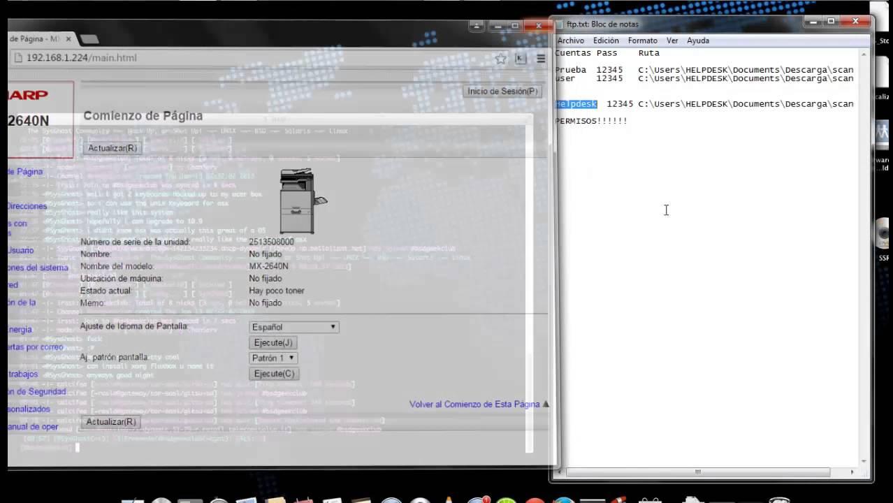 Configuracion para escaneo por FTP
