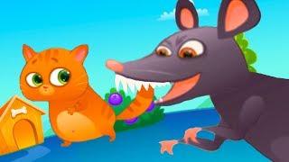 КОТЕНОК БУБУ #82 Мультик игра про котика и крыса. Злая, страшная мышь бегает за котом #пурумчата