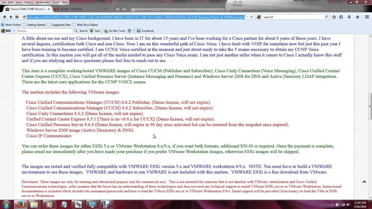 CISCO CCNA CCNP CCIE Voice Lab VMWARE Images CUCM, CUC, CUPs, UCCX,
