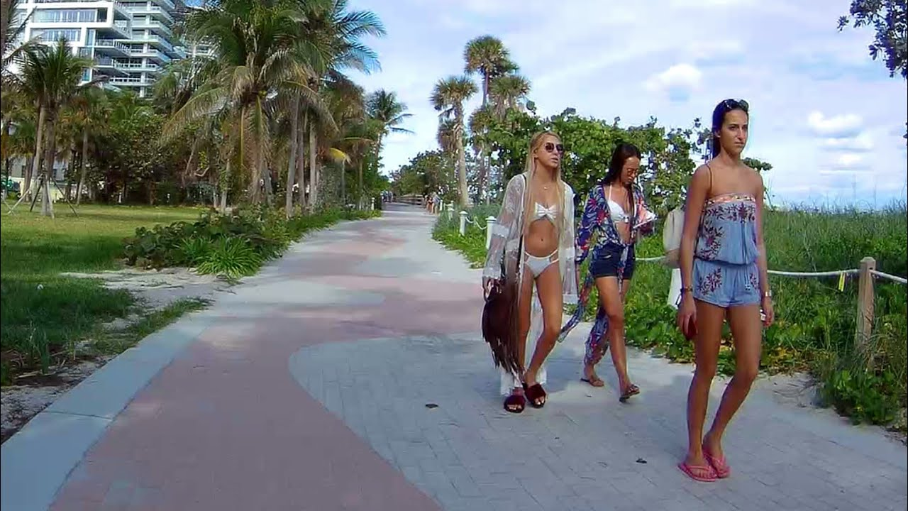 Biking On South Beach Walk Beautiful Walking Running Rollerblading Path Miami Florida