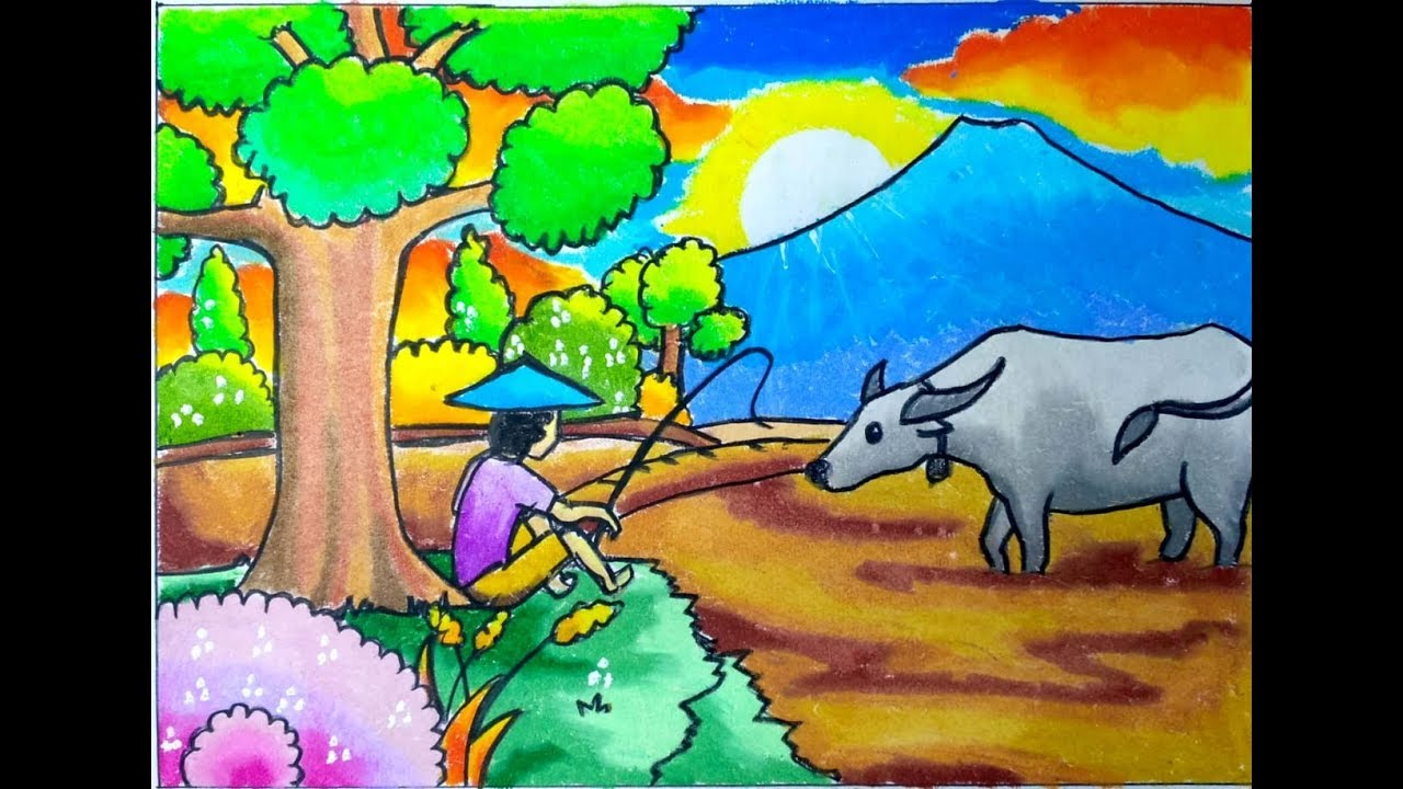 Menggambar Pemandangan Drawing Of Rice Fields With Buffalo And Coloring With Oil Pastels