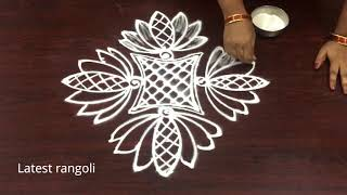 creative lotus rangoli design with 7x1 straight dots || easy rangoli designs || simple kolam