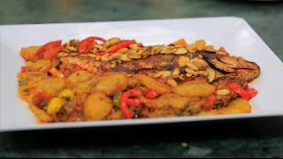 صينية سمك بالبصل ودبس الرمان | الشيف شربيني