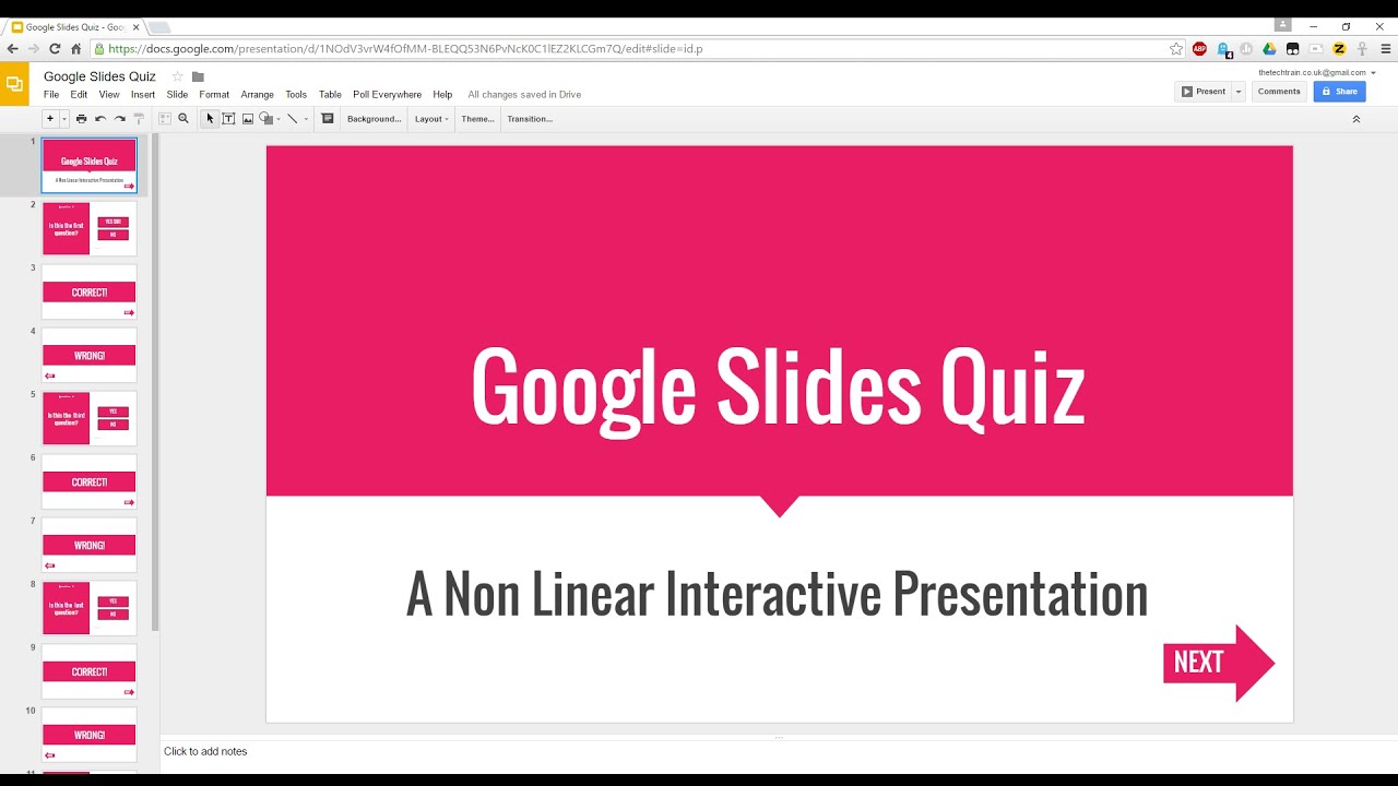 create an interactive (non linear) quiz in google slides - youtube, Presentation templates