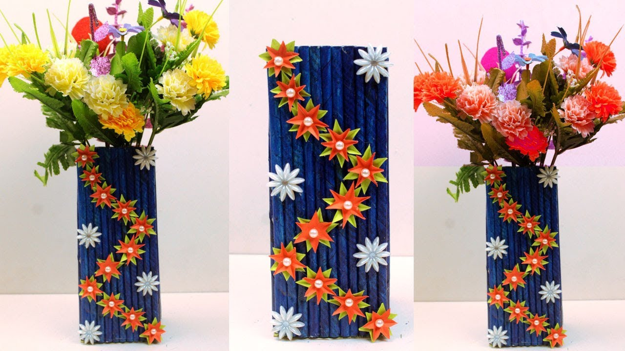 How to make newspaper & paper flower vase at home ...