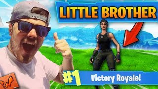 Helping my LITTLE BROTHER Get FIRST Win in Fortnite Battle Royale