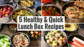 5 Healthy & Quick Lunch Box Recipes | Easy Indian Veg Office Tiffin Ideas for Weight Loss | Hindi