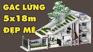 image Mẫu Nhà Cấp 4 Gác Lửng Không Gian Xanh Triệu Người Mê 5x18m   AnHouse