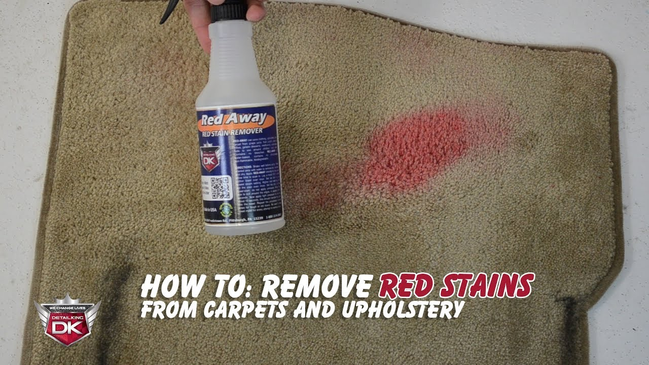 how to remove red stains from carpet and upholstery red away youtube. Black Bedroom Furniture Sets. Home Design Ideas