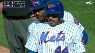 SF@NYM: Rivera gets HBP in first at-bat with Mets