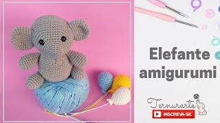 Elefante amigurumi - ideal para quadro decorativo e porta maternidade