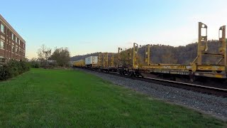 Empty Trailer Racks on a Westbound Intermodal in Edgeworth, PA on the Fort Wayne Line - 11/6/2019