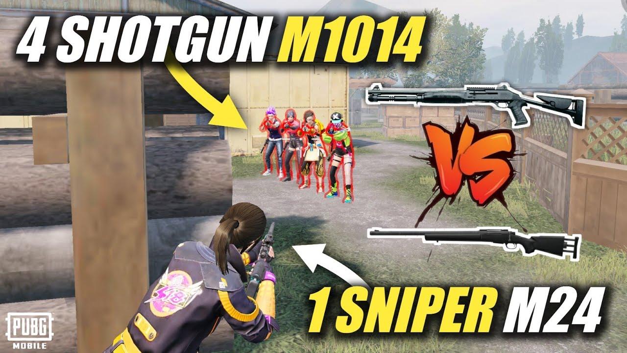 4 SHOTGUN M1014 Vs 1 GOD GUN M24 🔥   1V4 SNIPER AGAINST SHOTGUN MATCH   ANDROID GAMER   PUBG MOBILE
