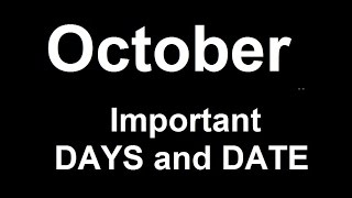 October Important Days and Dates (Remember via Short trick)