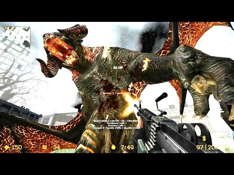 Counter Strike Source - Zombie Riot Mod Balrog Zombie Boss Fight Online Gameplay On Lost Temple Map