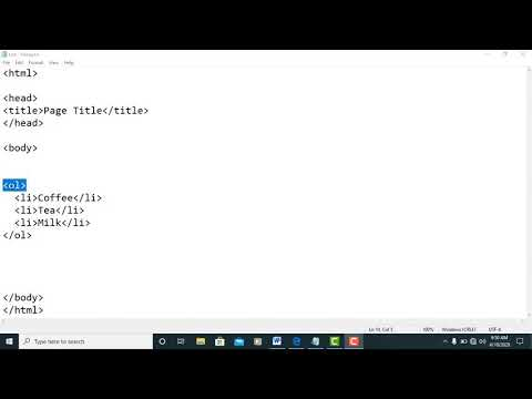 16 - Ordered List In HTML