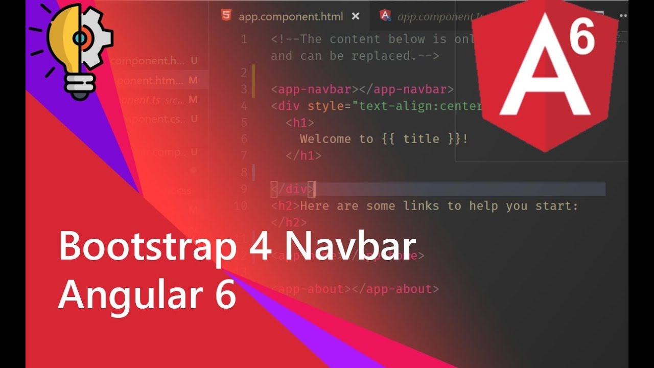 02 - Adding Bootstrap 4 Navbar with Component in Angular 6 project