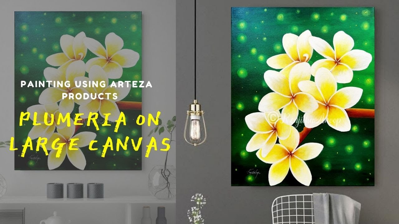 Step By Step Acrylic Painting On A Large Canvas For Beginners How To Paint Plumeria Art Ideas Youtube