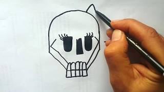 YAZARAK  KURUKAFA ÇİZ / Wordtoon : skull