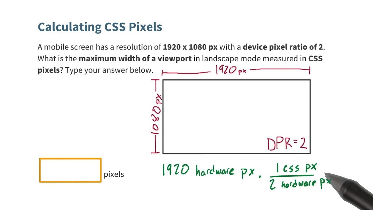 Calculating Css Pixels Quiz Responsive Web Design Fundamentals Youtube