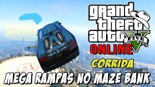 GTA 5 Online - Corrida insana com MEGA RAMPAS: Building Jumpers