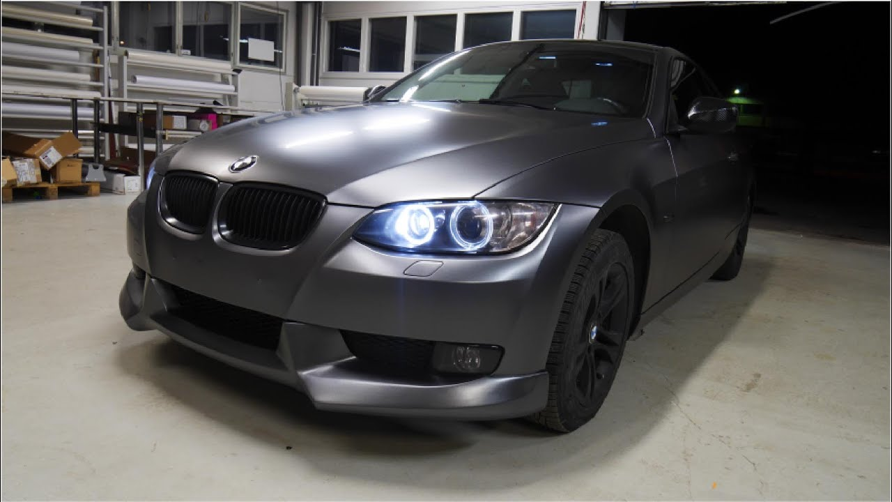 Matte Black Bmw >> Car wrapping - BMW E92 Coupe satin dark grey - YouTube